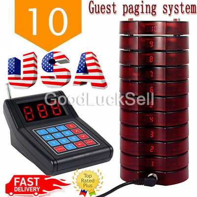 10pc Restaurant Coaster Pager Guest Call Wireless Paging Queuing Calling System