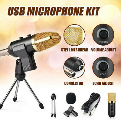 USB Condenser Microphone Studio Audio Brocasting w/ Tripod Stand Adjustable