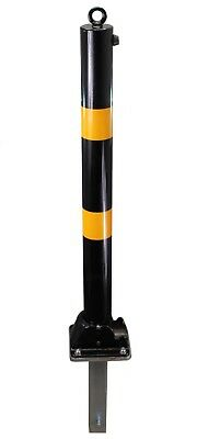 Black & Yellow Fold Down Parking Post with Ground Spigot for use on loose ground