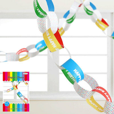Paper Chain Party Decoration - HAPPY BIRTHDAY - 4 metre garland