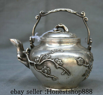 """6.4"""" Marked Old China Silver Dynasty Palace Flower Handle Teapot Teakettle Pot"""