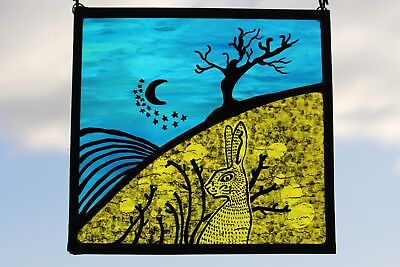 Stained Glass Moon Gazing Hare and Stars. Bright Blue & Yellow Glass. Handmade