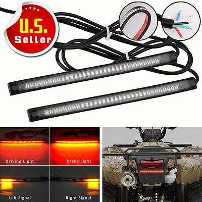 "2PCS 8"" Motorcycle 48 LED Integrated Brake Stop Turn Signal Tail Light Strip Bar"