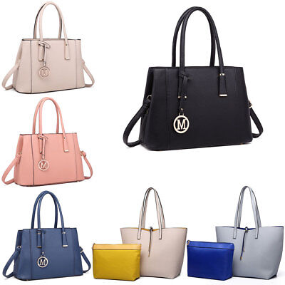 Women Designer PU Leather Structured Shoulder Handbag Reversible Tote Bag