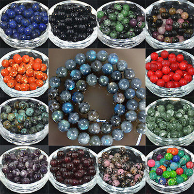 10Pcs Wholesale Lot Natural Stone Gemstone Round Spacer Loose Beads 10MM