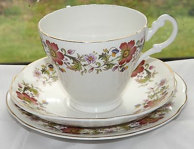Argyle English  Fine Bone China 1950s  Trio Cup Saucer Plate Summer Flowers