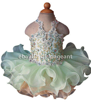 Infant//toddler//baby//Girl//kids Crystals Floral Bow Pageant Glitz Dress G009A