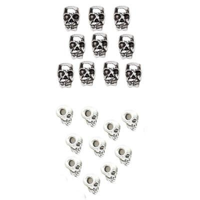 Wholesale 20pcs Big Hole Mixed Size Tibetan Silver Skull Spacer Charms Beads