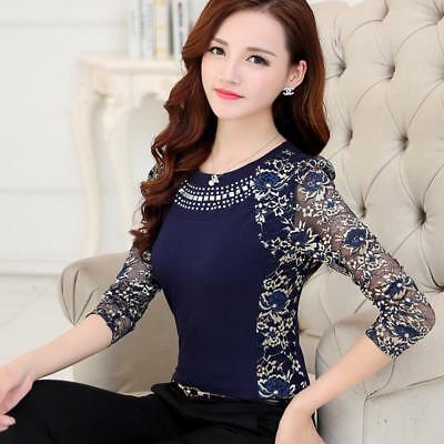 Women's Blouse Lace Shirt For Ladies Full Long Sleeve Slim Cotton Patchwork Tops
