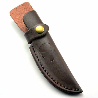Straight Leather Belt Sheath Scabbard Case Skull Pattern For Fixed Knife Blade
