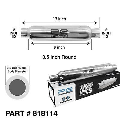 """2"""" (50mm) 3.5x9"""" inch Round Universal Stainless Steel Pro Bomb Exhaust Silencer"""