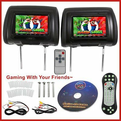 "2X 7"" Black Car Headrest Monitors w/DVD Player/USB/HDMI FM Speakers +Games !"