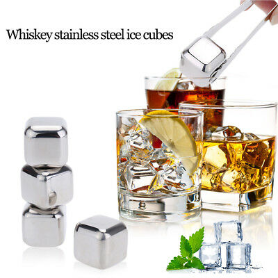 Whiskey Scotch Beer 4 Chilling Ice Cubes Wine Vodka Stones Rocks Stainless Steel