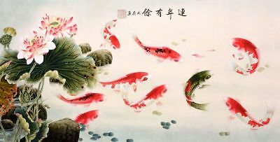 ORIGINAL ASIAN ART CHINESE FAMOUS ANIMAL WATERCOLOR PAINTING-Lotus flower&fish