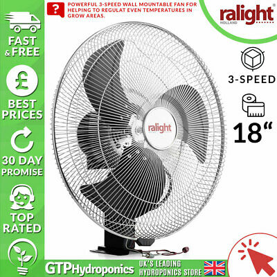 "Ralight Wall Fan 18"" / 18 Inches - Grow Room Mountable Air Circulator - 3-Speed"
