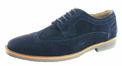 Silver Street Lombard 4 Eye Suede Brogue Lace Mens Shoes Navy