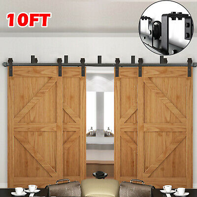 6FT/6.6FT/10FT Rustic Bypass Sliding Barn Wood Double/4 Doors Hardware Track Kit