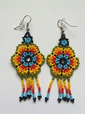 Mexican Huichol Beaded Flower Earrings Colorful Jewelry Hand Made - New