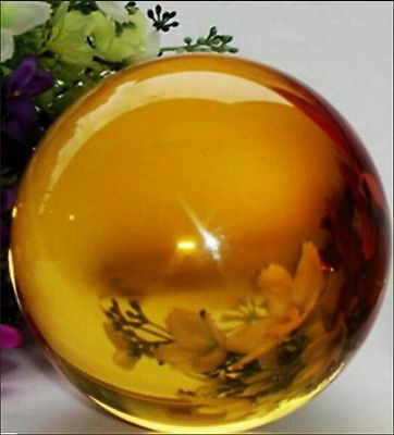 New Yellow Magic Glass Crystal Healing Ball Sphere 40mm+Stand