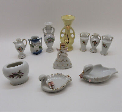 Lot of 11 Vintage Made In Japan & Occupied Japan Mini Porcelain Figurines Vases