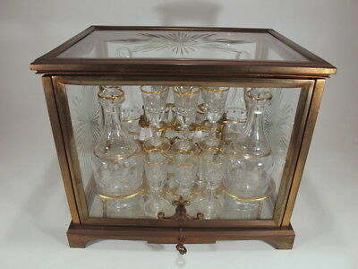 Antique French bronze & glass tantalus # 20133