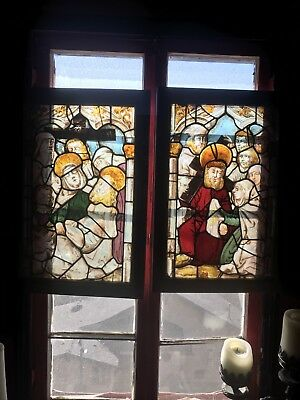 Pair Of Antique Church Renaissance Stained Glass Windows