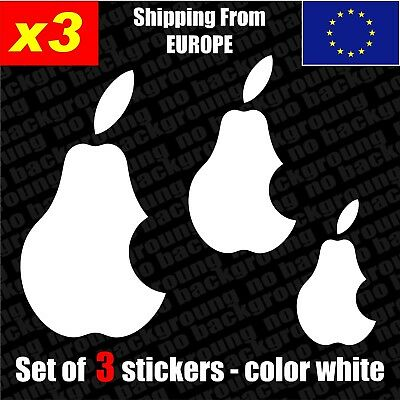 Set of 3 Pear NO apple Logo Vinyl Sticker Decal Aufkleber Die-Cut Car Laptop