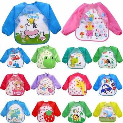Baby Boy Girl Long Sleeve Bibs Waterproof Saliva Towel Bib Feeding Burp Apron