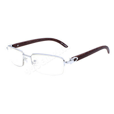 8028 Clear Lens Silver Metal Wood Effect Half Rim Frames Eye Glasses