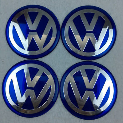 Car Wheel Center HUB Caps Curve Badge EMBLEM for VW VOLKSWAGEN 65mm Blue Sticker