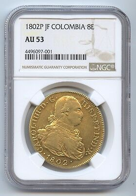 Columbia 1802P JF 8 Escudos (#1384) NGC AU53. Very Nice Lustrous. Flash Coin.