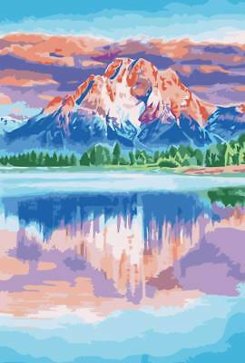 """MIRROR MOUNTAIN PAINTING PAINT BY NUMBERS CANVAS KIT 20 x 16"""" FRAMELESS, ACRYLIC"""