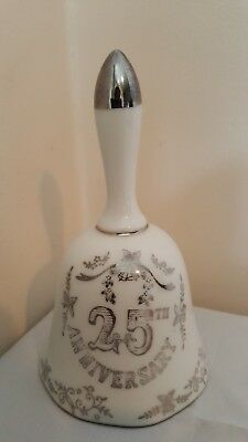 "Vinatge 25Th Anniversary Silver On White Hand Held Porcelain Bell 5 1/4"" Tall"