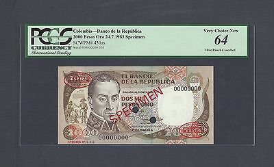 Colombia 2000 Pesos Oro 24-7-1983 P430as Specimen TDLR  Uncirculated
