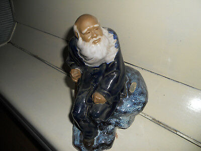 CHINESE MUDMAN OLD MAN LONG WHITE BEARD SITTING FIGURINE bargain