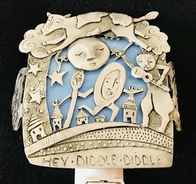 """Leandra Drumm Pewter and Stained Glass """"Hey Diddle Diddle"""" Night Light"""