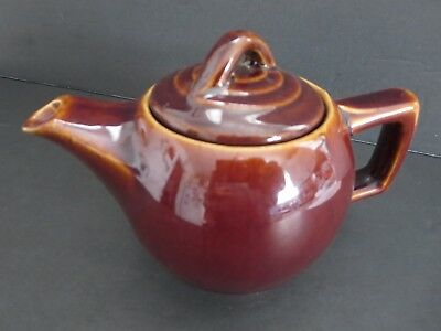 "VINTAGE 4.5"" x 6"" BROWN MCcOY TEAPOT W/LID  MADE IN USA  ART POTTERY"