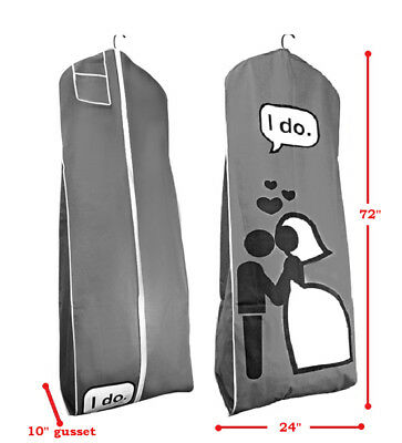 I DO Gray Breathable Wedding Gown Bridal Dress Garment Bag Extra Long