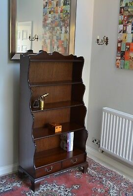 "Antique Georgian Style Tall Mahogany Waterfall Bookcase Bookshelf Shelves 60"" H"