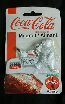 """Coca-Cola Magnet Coca-Cola Sold Here with Polar Bears about 3 1/4"""" long # 51564"""