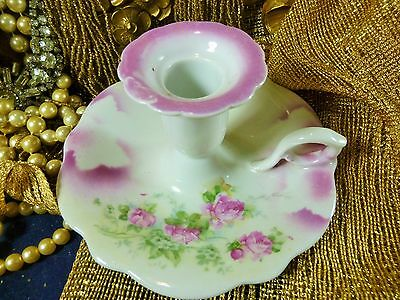 German Late Victorian Era Chamber Candle Holder Hp Pink Roses Pink Color Splash