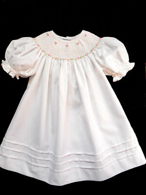 Girls Sweet Dreams Smocked Baptism White Wedding Portrait Dress 12 mos