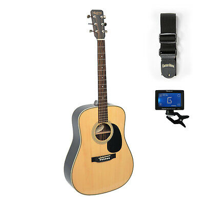 Braidwood Acoustic Guitar Dreadnought Pack - Includes Strap and Clip on Tuner