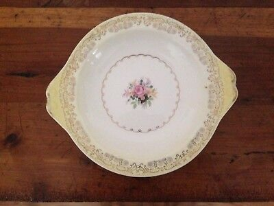 """Vintage Paden City Pottery LOW BOWL WITH HANDLES A-55 7"""" X 8"""" ROSE WITH YELLOW"""