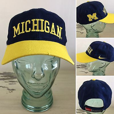 586b475a476 MICHIGAN WOLVERINES - NIKE TEAM Navy Blue   Yellow Adjustable Hat Cap -  MUST SEE