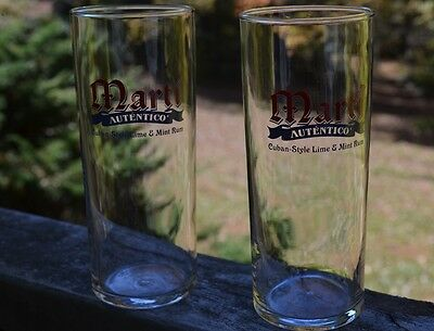 Pair Of 2 Marti Autentico Cuban-Style Lime And Mint Rum Bar Glasses