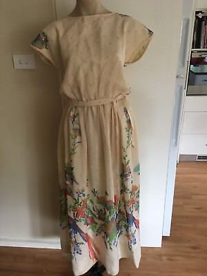 Ladies Vintage 70's Dress Size Medium 10-12 Cream Floral Long Flowing Summer