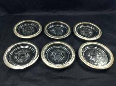 Crystal Glass Coasters with Silver Rims Set of 6 Vintage Bar & Cocktail Decor