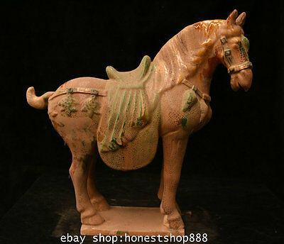 """16"""" Old Chinese Tang San Cai Pottery Dynasty Stand Tang War Horse Horses Statue"""