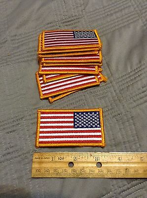 USGI AMERICAN FLAG EMBROIDERED PATCH W/ GOLD BORDER USA US United States (Right)